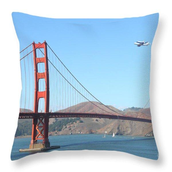 Nasa Space Shuttle's Final Hurrah Over The San Francisco Golden Gate Bridge Throw Pillow by Wingsdomain Art and Photography