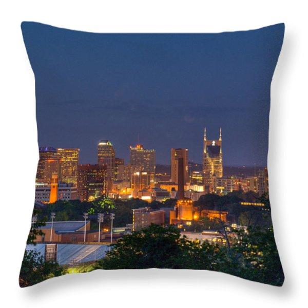Nashville By Night 2 Throw Pillow by Douglas Barnett