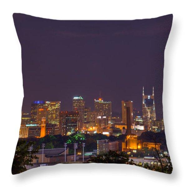Nashville By Night 3 Throw Pillow by Douglas Barnett