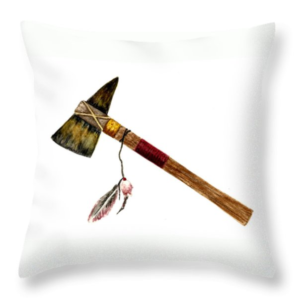 Native American Tomahawk Throw Pillow by Michael Vigliotti