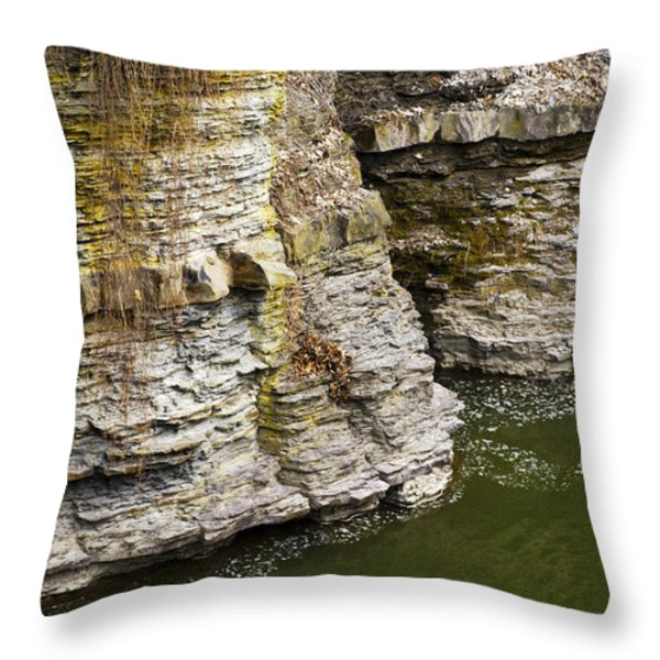 Nature Abstract Rock Cliffs Throw Pillow by Christina Rollo