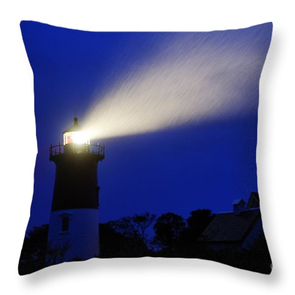 Nauset Light Storm Throw Pillow by John Greim