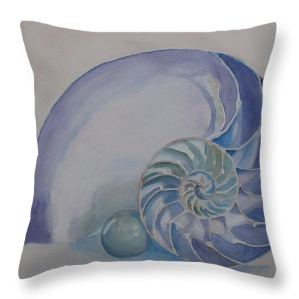 Nautilus With Marble Throw Pillow by Jenny Armitage