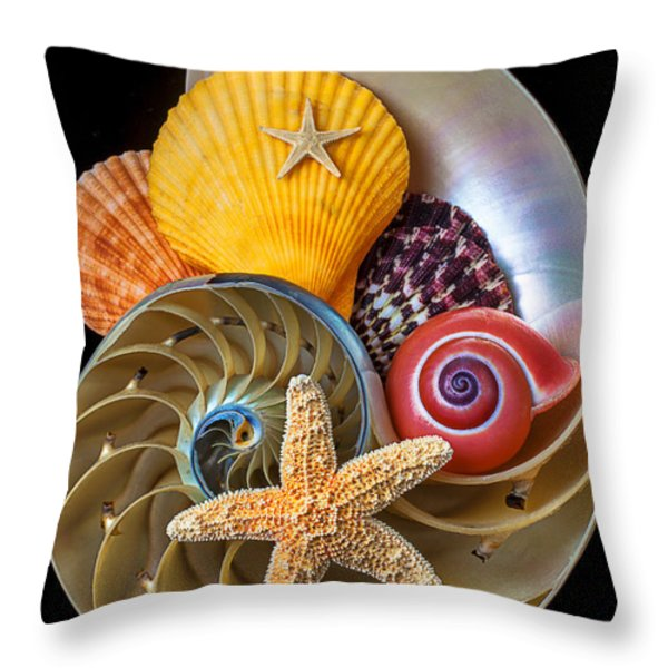 Nautilus with sea shells Throw Pillow by Garry Gay