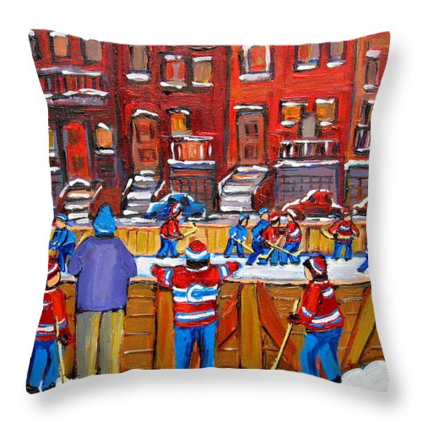 Neighborhood  Hockey Rink Throw Pillow by Carole Spandau