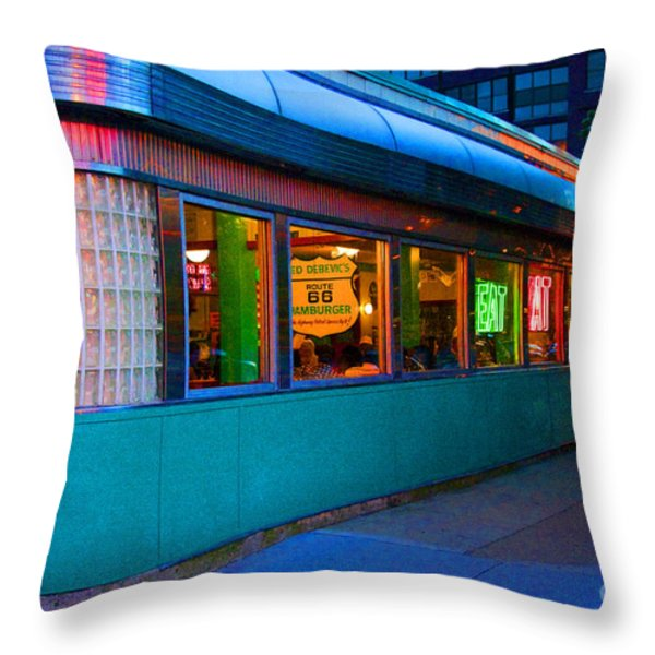 Neon Diner Throw Pillow by Crystal Nederman