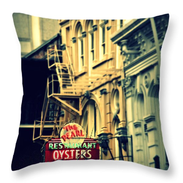 Neon Oysters Sign Throw Pillow by Perry Webster