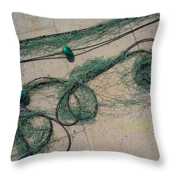 Neptune Green Throw Pillow by Charles Stuart