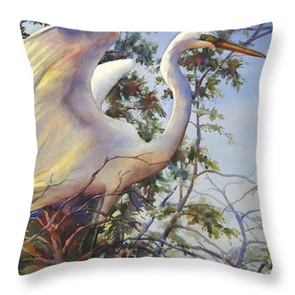 Nesting Egret Throw Pillow by Sue Zimmermann