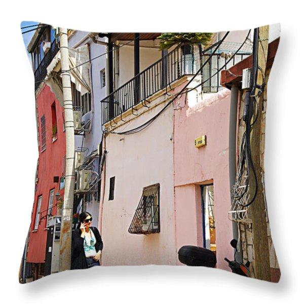 Neve Tzedek Neighborhood In Tel Aviv Throw Pillow by Zalman Latzkovich