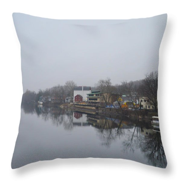 New Hope River View on a Misty Day Throw Pillow by Bill Cannon