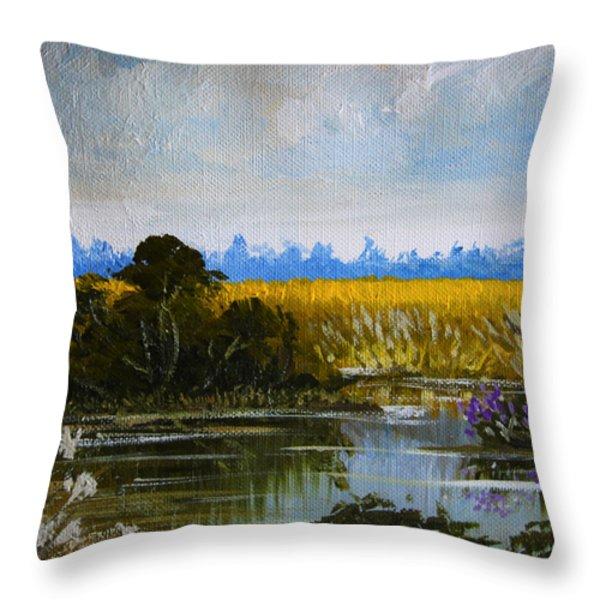 New Jersey Marsh Throw Pillow by Karon Melillo DeVega