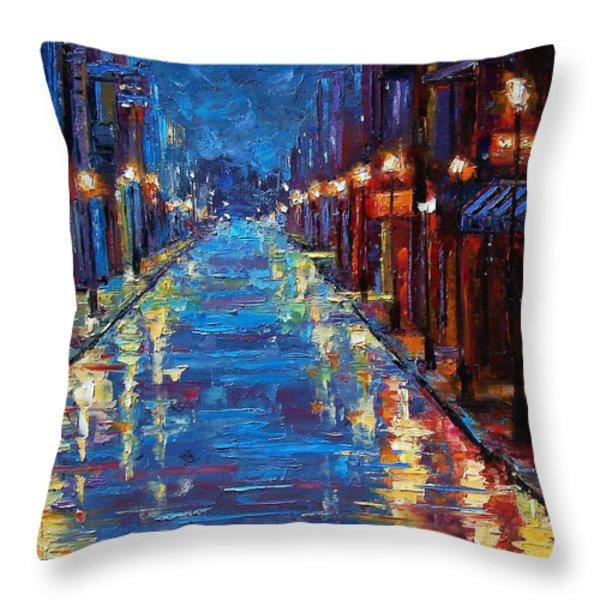 New Orleans Bourbon Street Throw Pillow by Debra Hurd