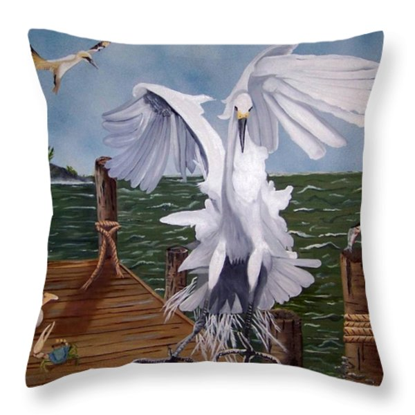 New Point Egret Throw Pillow by Debbie LaFrance