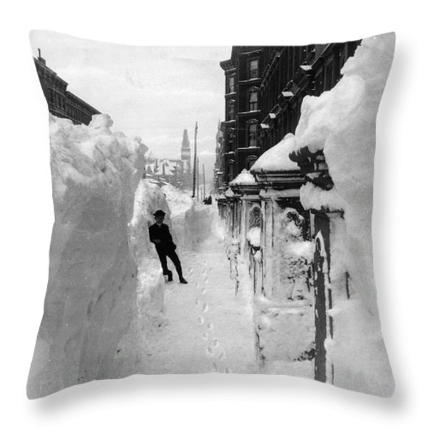 New York: Blizzard Of 1888 Throw Pillow by Granger