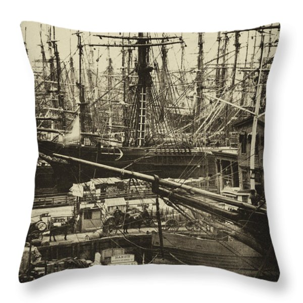 New York City Docks - 1800s Throw Pillow by Paul W Faust -  Impressions of Light