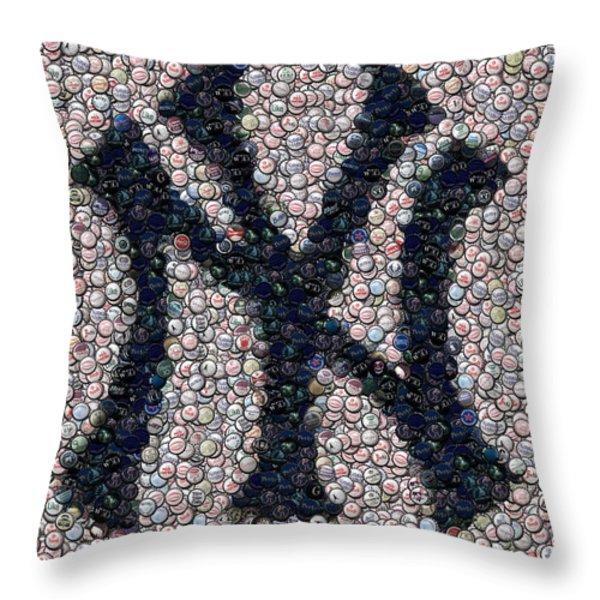 New York Yankees Bottle Cap Mosaic Throw Pillow by Paul Van Scott