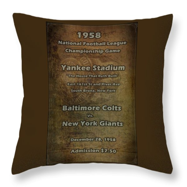 Nfl Championship Game 1958 Throw Pillow by David Dehner
