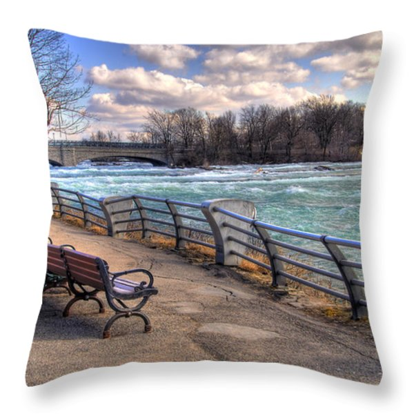 Niagara Rapids In Early Spring Throw Pillow by Tammy Wetzel