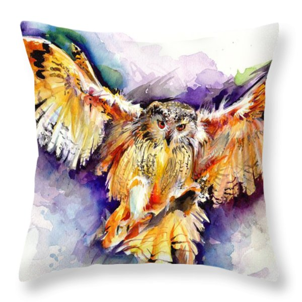 Night Owl Watercolor, Hunting Owl, Flying Brown Owl Throw Pillow by ...