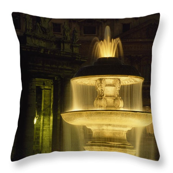 Night View Of A Fountain Outside Saint Throw Pillow by James L. Stanfield