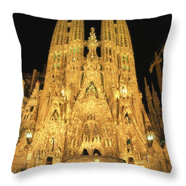 Night View Of Antoni Gaudis La Sagrada Throw Pillow by Richard Nowitz