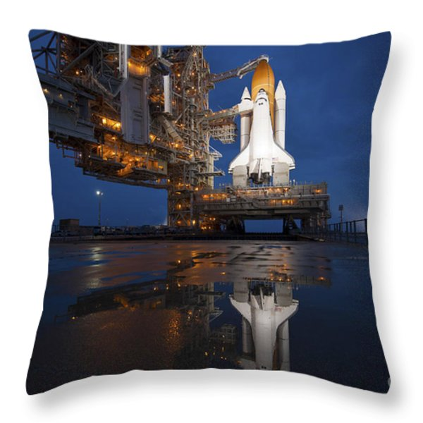 Night View Of Space Shuttle Atlantis Throw Pillow by Stocktrek Images