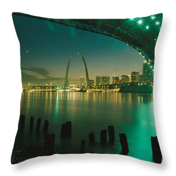 Night View Of St. Louis, Mo Throw Pillow by Michael S. Lewis