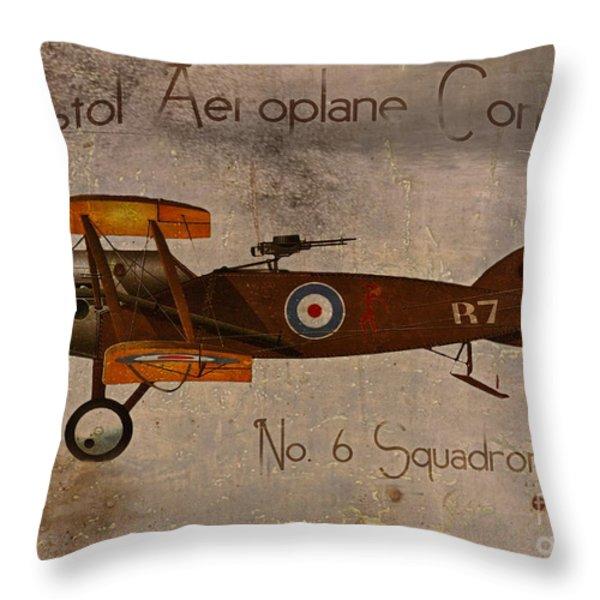 No. 6 Squadron Bristol Aeroplane Company Throw Pillow by Cinema Photography