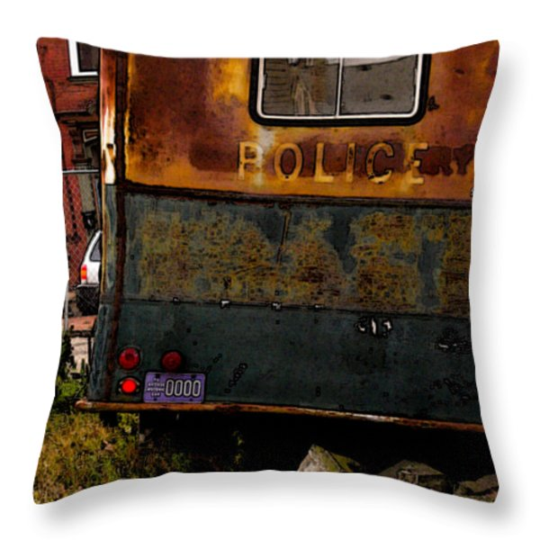 No Need for the Black Maria Throw Pillow by Jay Ressler