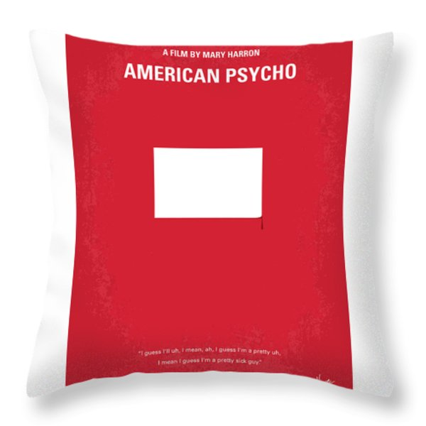 No005 My American Psyhco minimal movie poster Throw Pillow by Chungkong Art