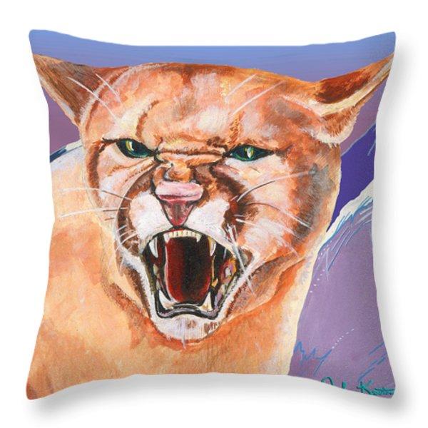 North American Puma Throw Pillow by John Keaton