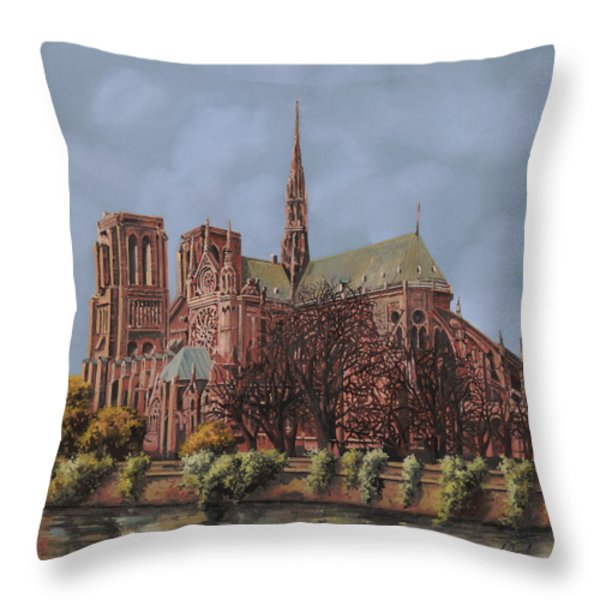 Notre-dame Throw Pillow by Guido Borelli