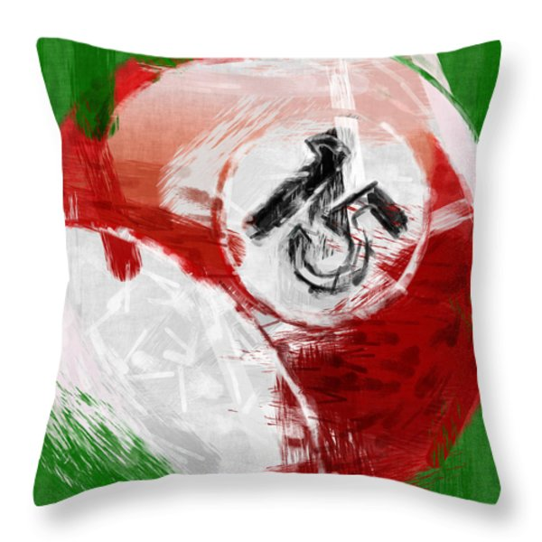 Number Fifteen Billiards Ball Abstract Throw Pillow by David G Paul