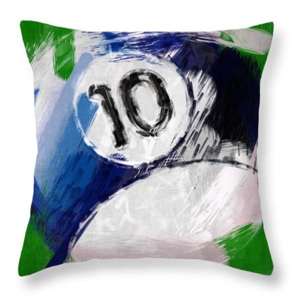 Number Ten Billiards Ball Abstract Throw Pillow by David G Paul