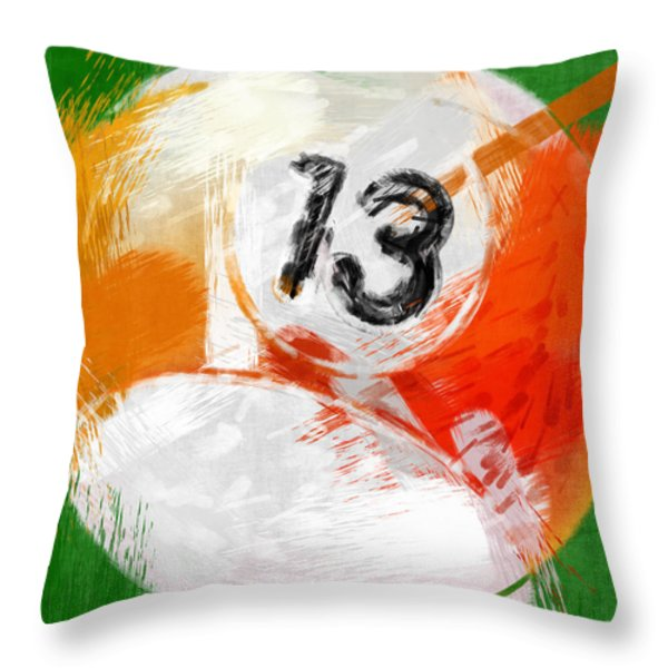 Number Thirteen Billiards Ball Abstract Throw Pillow by David G Paul