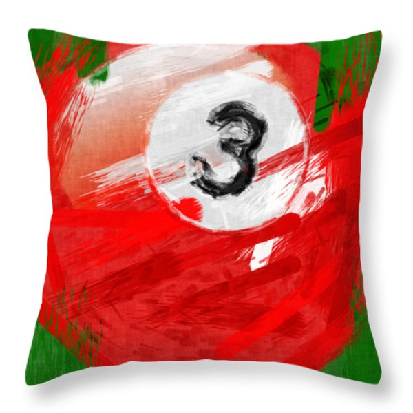 Number Three Billiards Ball Abstract Throw Pillow by David G Paul