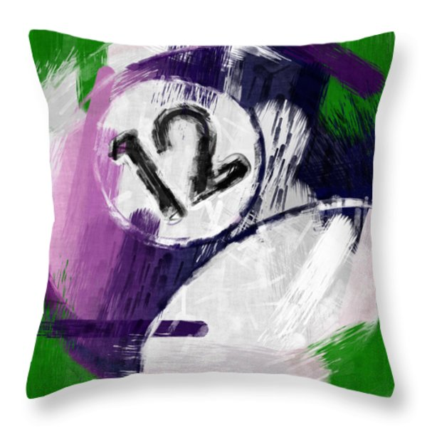 Number Twelve Billiards Ball Abstract Throw Pillow by David G Paul