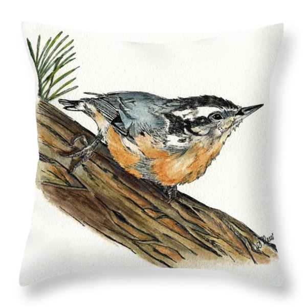 Nuthatch Throw Pillow by Shari Nees