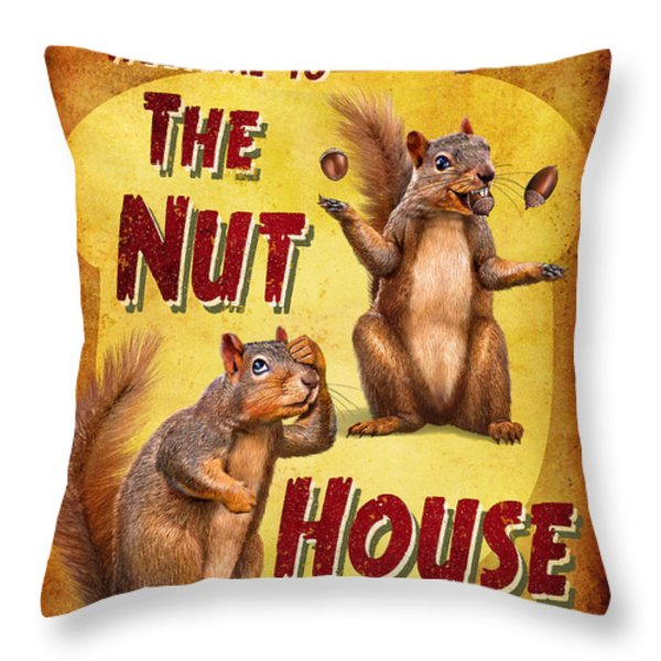 Nuthouse Throw Pillow by JQ Licensing