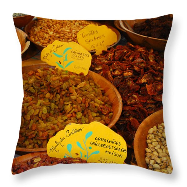Nuts, Dried Fruits And Vegetables Throw Pillow by Anne Keiser