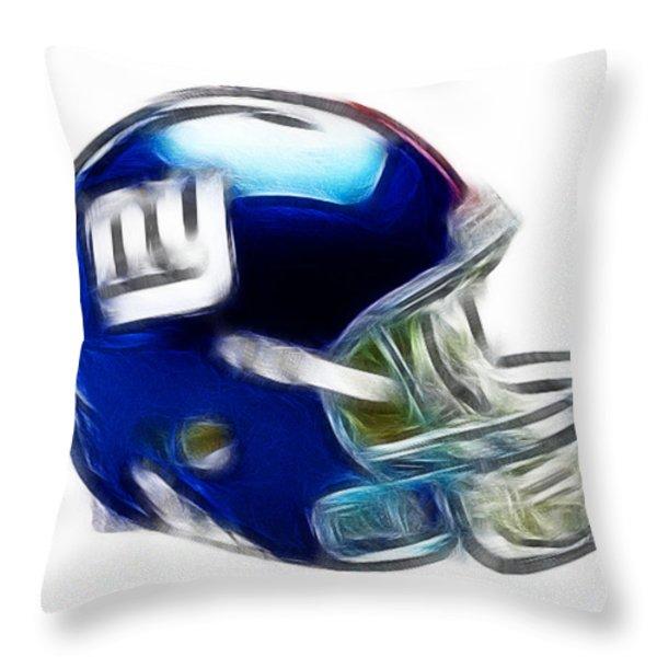 NY Giants Helmet - fantasy art Throw Pillow by Paul Ward