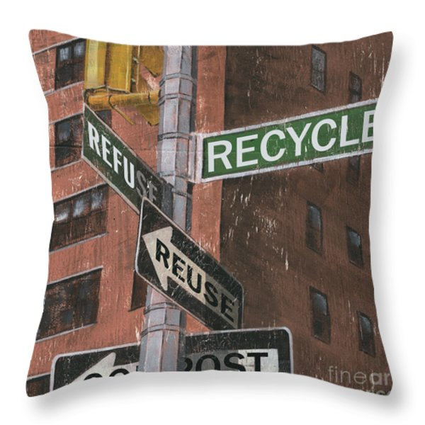 NYC Broadway 1 Throw Pillow by Debbie DeWitt