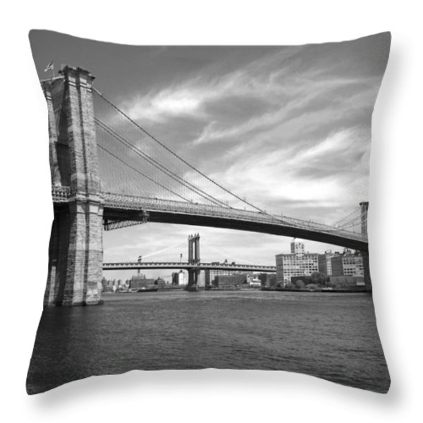 NYC Brooklyn Bridge Throw Pillow by Mike McGlothlen