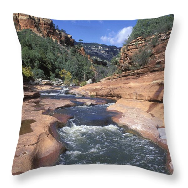 Oak Creek Flowing Through The Red Rocks Throw Pillow by Rich Reid