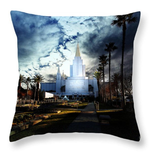 Oakland California Temple . The Church Of Jesus Christ Of Latter-day Saints Throw Pillow by Wingsdomain Art and Photography
