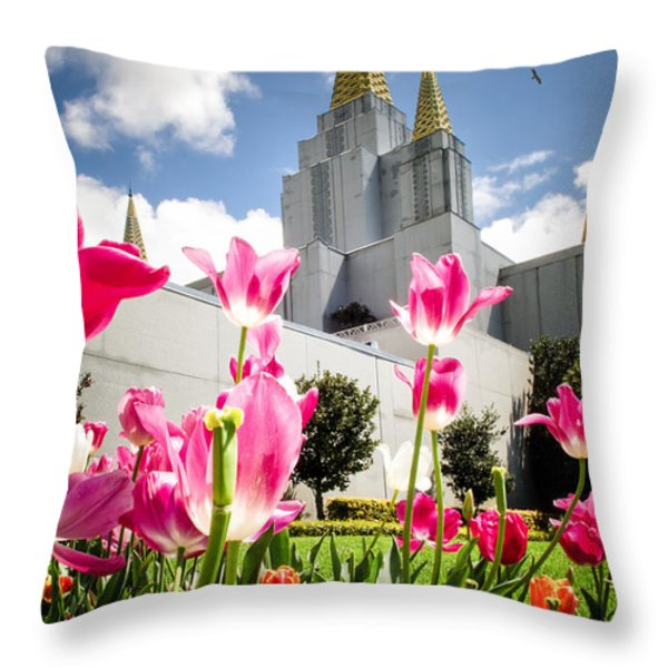 Oakland Pink Tulips Throw Pillow by La Rae  Roberts