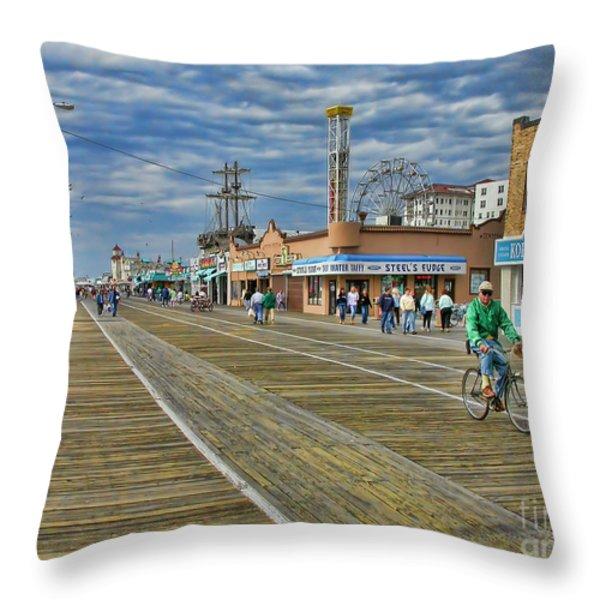 Ocean City Boardwalk Throw Pillow by Edward Sobuta