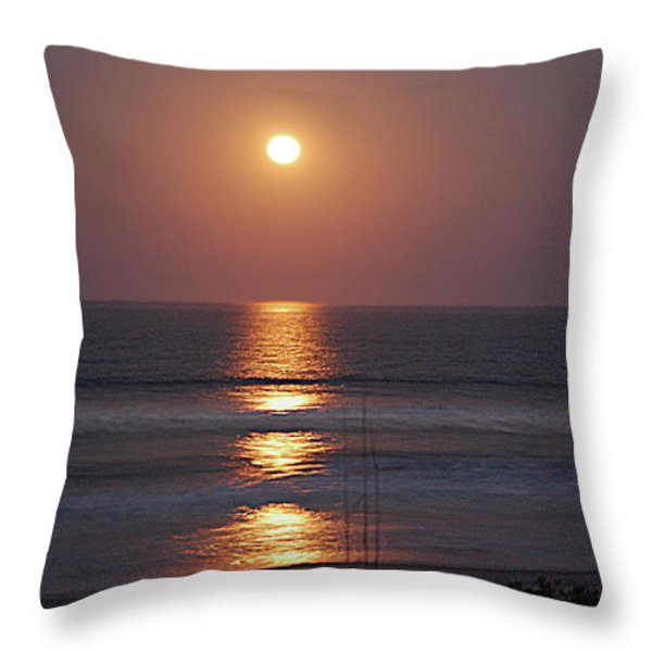 Ocean Moon in Pastels Throw Pillow by DigiArt Diaries by Vicky B Fuller