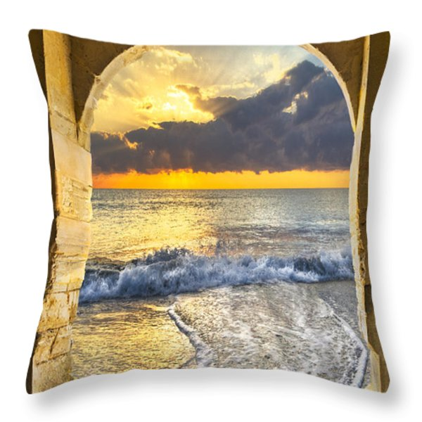 Ocean View Throw Pillow by Debra and Dave Vanderlaan